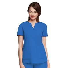 NrG by Barco 2 Pocket Mock Wrap With Side Panels Scrub Top - New Royal(S)