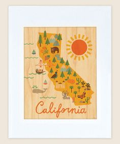Love this Maple Veneer California Map Print by Petit Collage on #zulily! #zulilyfinds