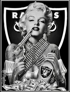 Arte Marilyn Monroe, Marilyn Monroe Tattoo, Marilyn Monroe Artwork, Raiders Stuff, Raiders Girl, Okland Raiders, Oakland Raiders Wallpapers, Oakland Raiders Football, Raiders Tattoos