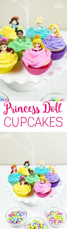 Disney Princess Doll Cupcakes are the perfect treat for any Disney princess fan and will be the hit of any Disney princess party.  via @sprinklesomefun