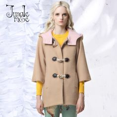 >> Click to Buy << JUNGLE ME 2017 Spring New Horn Button Wool Coats Three Quarter Sleeve Shallow Camel Spliced Hooded Loose Wide Waisted Women Coat #Affiliate
