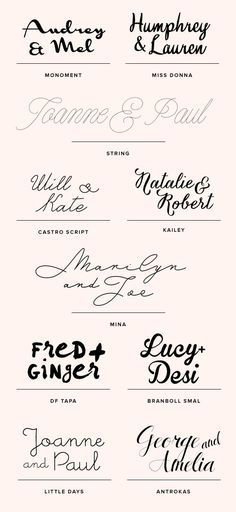 Wedding font ideas