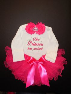 The Princess has arrived embroidered newborn baby girl outfit infant tutu bow headband rhinestone tiara coming home from the hospital outfit.