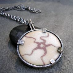 Enamel Necklace- A Fossil Starfish with Andalusite and Textured Sterling Silver on Etsy, $325.00