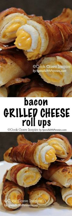 Crispy Bacon Grilled Cheese Roll Ups! My new favorite! Melty gooey cheese all wrapped in crispy bacon. Perfect for dipping in tomato soup!