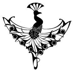 Peacock ornament Art nouveau