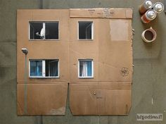 Cardboard City - by Evol . EVOL, the German artist who seems to have the ability to transform any landscape or found object into his own little world. Some of his best work involves found cardboard, where he takes… Cardboard City, Cardboard Boxes, Cardboard Display, Design Retro, Art Design, Blog Art, Ecole Art, Building Art, Green Building