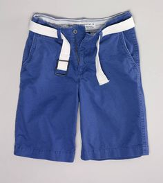Add a little color without going overboard with the AE Longer Length Belted Flat Front Short in arctic blue.