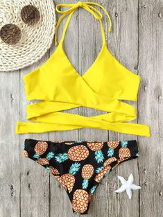 4dbda0ca577d29 Pineapple Print Wrap Bikini Set -  16.59 Free Shipping