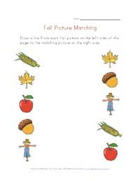 Printable Fall picture matching http://www.allkidsnetwork.com/