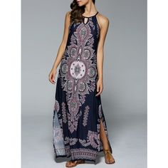 Bohemian Side Slit Tribal Maxi Dress is the beautiful and elegant maxi dress for you to have in your wardrobe this spring and summers. Tribal Maxi Dresses, Halter Maxi Dresses, Boho Dress, Bohemian Dresses, Tribal Dress, Bohemian Mode, Bohemian Style, Boho Fashion, Fashion Outfits