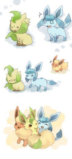 ブースター。 1p寒いよ~あっち行って… 2pそんなぁ… 3pこうしたら暖かいよ! …といったイメージで見てみてください #Leafeon #Glaceon #Flareon Pika Pokemon, Pikachu, Pokemon Eeveelutions, Eevee Evolutions, Pokemon Pins, Pokemon Comics, Pokemon Fan Art, Cute Pokemon Pictures, Pokemon Images