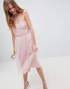 ASOS DESIGN bridesmaid bandeau tulle midi dress