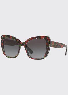 Dolce&Gabbana Acetate Butterfly Sunglasses - Bergdorf Goodman Bergdorf Goodman, Prescription Lenses, Eyewear, Luxury Fashion, Butterfly, Sunglasses, Eyeglasses, Sunnies, Shades