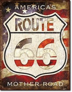 Shop for Route 66 Americas road tin sign made in the USA. We have a wide variety of unique , collectible tin signs. Route 66 Sign, Old Route 66, Route 66 Road Trip, Historic Route 66, Roadside Signs, Road Routes, Litho Print, Garage Signs, Vintage Metal Signs