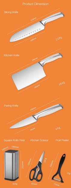 KCASA KF-8 6 Pieces Kitchen Multifunctional Stainless Steel Effort Saving Knife Scissor Peeler Slicer Knife Rest Knife Set