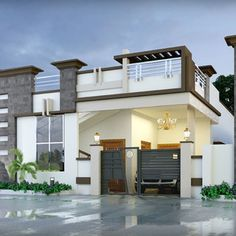 Single Floor House Elevation Design - Home Design House Front Wall Design, Single Floor House Design, Village House Design, Kerala House Design, Bungalow House Design, House Floor, Building Elevation, House Elevation, 2bhk House Plan