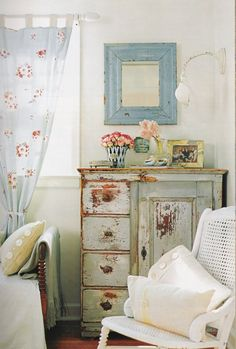 Cottage Style Cabinet and Curtains