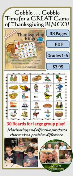 Add some BINGO to that Thanksgiving family get-together.  Also great for school or organization parties.  This is a carefully crafted Thanksgiving bingo game. There are 30 different bingo boards to accommodate large groups. Each of the large calling cards includes a text description for ease of calling. All of the boards have clear and colorful graphics that also include text titles so participants can easily identify the symbols being called. Provides years of Thanksgiving fun!