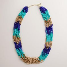 Turquoise and Gold Seed Bead Multi-Strand Necklace