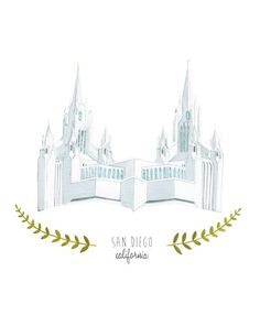 San Diego California LDS Temple Illustration  by HeatherMettra, $20.00