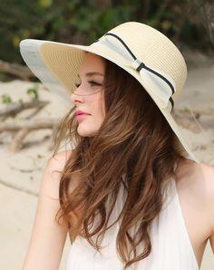 #AdoreWe #VIPme Hats & Caps - Designer Thantrue Beige Elegant Wide Brim Summer Holiday's Floppy Sun Hat - AdoreWe.com
