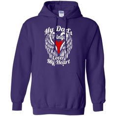 Dads Wings Cover Heart Pullover Hoodie 8 oz