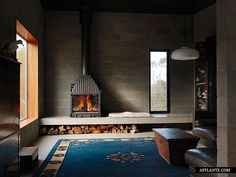 Big Hill by Kerstin Thompson Architects - fireplace + wood storage Freestanding Fireplace, Wood Fireplace, Modern Fireplace, Fireplace Design, Fireplace Ideas, Fireplaces, Casa Patio, Interior Architecture, Interior Design