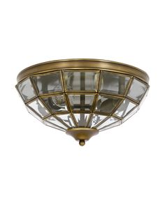 Saville 2 Light Close To Ceiling Light in Antique Brass Beacon Lighting, Candle Warmer, Traditional Decor, Candelabra, Glass Panels, Three Dimensional, Antique Brass, Clear Glass, Pendant Lighting