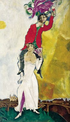 """Chagall, Pintor De Sonhos...""""Retrato Duplo Com Copo De Vinho"""",1917/18: Mais uma obra singular para celebrar o amor.Aqui, o casal está 'intoxicado pela felicidade'.Bella tornou-se acrobata e está segurando Marc, que ergue um copo de vinho, aparentemente brindando o observador;a impressão do amável desequilíbrio alcoólico é intensificada pela cabeça deslocada de Marc e pelo olho coberto de Bella, além de seu leque e seu notável decote."""