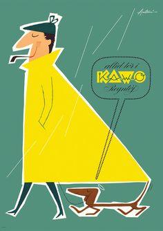 """Ib Antonis reklameplakat - """"Altid Tør I Kawo Regntøj"""". Tegnet i 1958 for Aalborg Gummivarefabrik. Trykt på specialpapir med lysægte farver."""