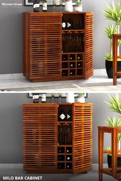 Simple yet striking, the Milo bar cabinet defines beauty at its best. The horizontal slated patterns on the shutters proffer a unique look. Well, the best part is the wholesome storage options for nicely keeping all your bar essentials. Wooden Street, Bar Furniture, Shutters, Liquor Cabinet, Essentials, It Is Finished, Patterns, Storage, Simple