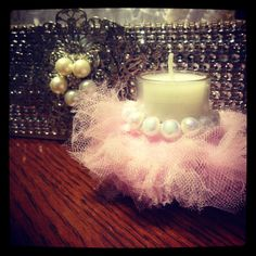 12 Baby shower Birthday Tutu Pearled Votive by ThenGcreations