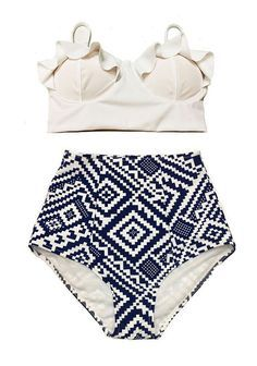 White Midkini Frilling Beach Bra Top and Graphic Print High waisted waist Bottom Swimsuit Bathing suit suiuts Bikini Bikinis set sets S M L