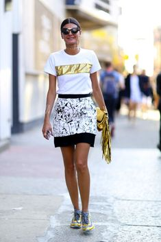 Prints in street style. Gio at NYFW Spring 2015.
