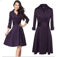 Baihong Women High Waist Lapel Collar Swing Work Daily Plus Size Suit Dress L Tag 2XL, Dark Purple  Go to the website to read more description.