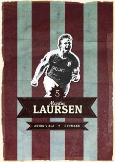 Retro Martin Laursen Aston Villa Poster Aston Villa Fc, Best Club, Sport Icon, Soccer, Football, Man Cave, Icons, Graphic Design, Retro