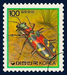 DEFITIVE POSTAGE STAMP (IMSECTS), Cicindela chinensis, Insect, Red, Yellow, Green, 1991 04 08, 보통우표, 1991년04월08일, 1634, 길앞잡이, postage 우표