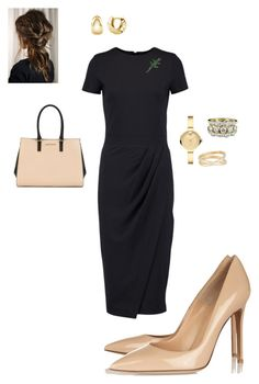 """""""Work"""" by cgraham1 on Polyvore featuring Iris & Ink, Gianvito Rossi, Movado, Maison Margiela, BERRICLE and Armani Jeans"""