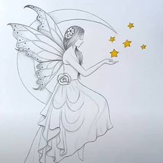Fairy Drawings, Girl Drawing Sketches, Art Drawings For Kids, Art Drawings Sketches Simple, Colorful Drawings, Cute Drawings, Easy Fairy Drawing, Easy Sketches To Draw, Fairytale Drawings