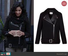 Rosa's black leather lapel moto jacket on Brooklyn Nine-Nine.  Outfit Details: http://wornontv.net/42979/ #Brooklyn99