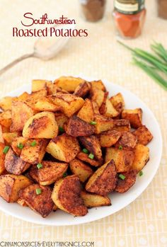 Southwestern Roasted Potatoes // 2 pounds Yukon Gold or Russet potatoes, peeled and cut into pieces 2 - 4 tablespoons olive oil, divided teaspoon chile powder teaspoon sweet or smoked paprika teaspoon ground cumin teaspoon red peppe Potato Dishes, Potato Recipes, Vegetable Recipes, Great Recipes, Favorite Recipes, Family Recipes, Cooking Recipes, Healthy Recipes, Lunch Recipes