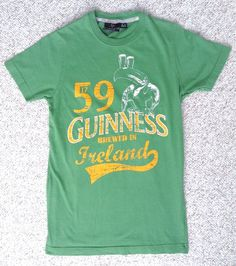 GUINNESS BEER TOUCAN T-SHIRT Green/Yellow Vtg-Look SMALL-SLIM (great for women!) #Guinness #GraphicTee