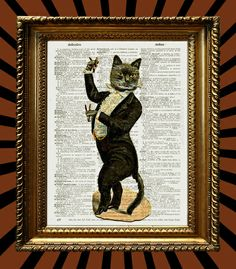 Tuxedo Cat Flamenco Book Page Print. Starting at $5 on Tophatter.com! @juxtified March 28th at 6pm CDT! http://tophatter.com/auctions/41581-juxtified-book-page-art-prints