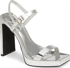 A sharply blunted toe and a perfectly flat wall heel bring smart geometries to a sandal styled to angle up the look of any ensemble at any occasion. Daniella Perkins, Next Shoes, Women's Shoes, Nordstrom Gifts, Hot Heels, Trendy Shoes, Cute Woman, Sexy Feet, Jeffrey Campbell