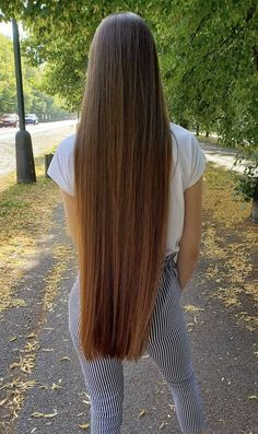 Image may contain: one or more people, tree, stripes, outdoor and nature Grow Long Hair, Long Brown Hair, Very Long Hair, Beautiful Long Hair, Gorgeous Hair, Silk Hair, Shoulder Length Hair, Human Hair Wigs, Rapunzel