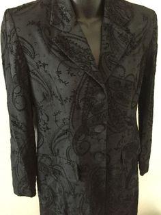 Dani Max Long Jacket Blazer Black Jacquard Petites Size 4 Button Front   eBay