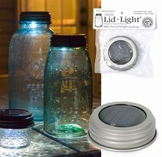 Solar light lids for Ball Mason Jars. What a great idea for a bathroom night light or outside lights on the picnic table. You could fill with marbles or glass chips for an even cooler look!