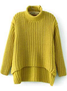 Yellow High Neck Dipped Hem Loose sweater - abaday.com Зима ca690cf04f63a