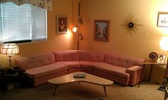 Vintage 1950s Mid Century Modern Pink 3 PC Sectional Sofa Couch Eames Era #Unbranded